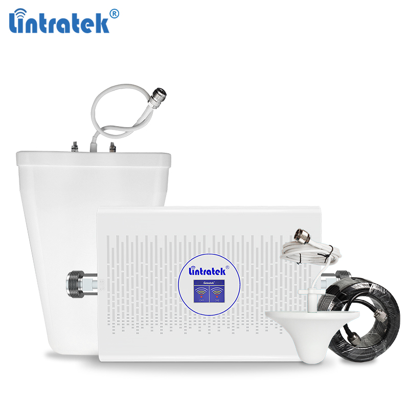 Lintratek 70dB 23dBm GSM 2G 3G Repeater 900 2100 Signal Booster GSM 900 Repeater 3G 2100Mhz Mobile Phone Amplifier AGC KW23C-GW