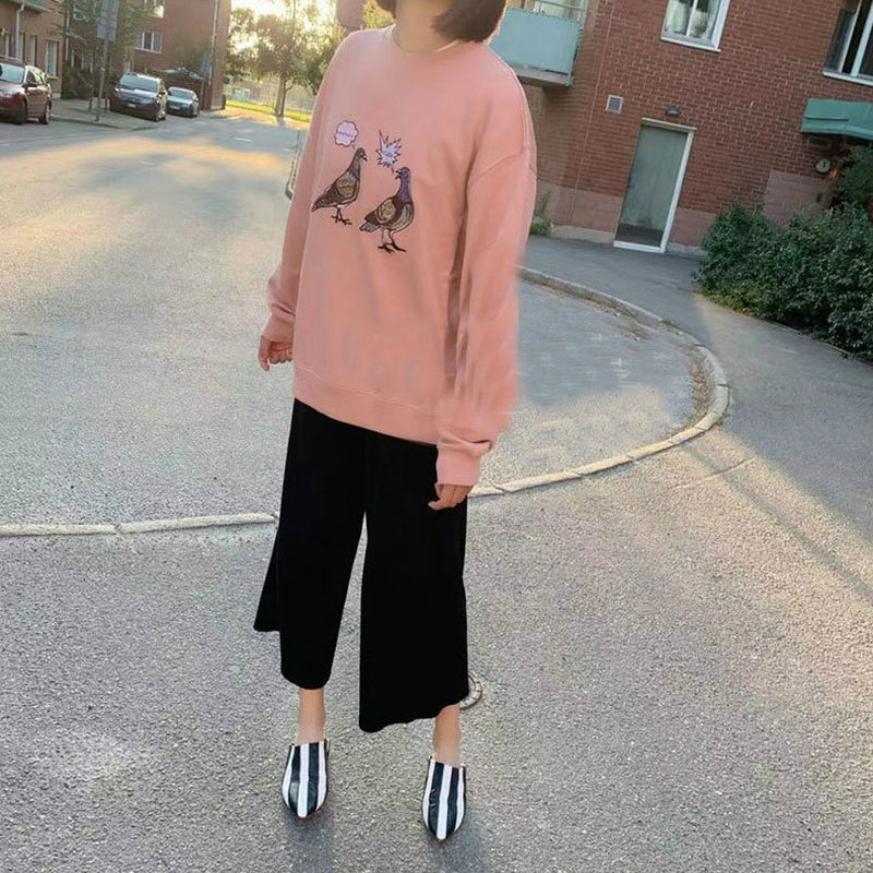 Women Hoodie New Personality Small Animal Embroidery Pattern Men And Women Solid Loose Round Neck Sweatshirt