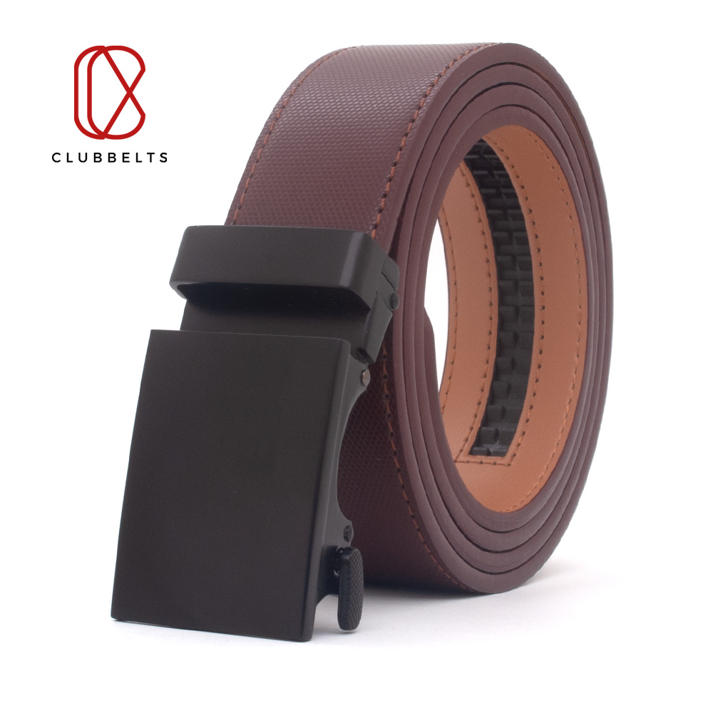 Clubbelts Men's Leather Ratchet Belt With Charcoal Automatic Buckle Genuine Leather Belts For Men