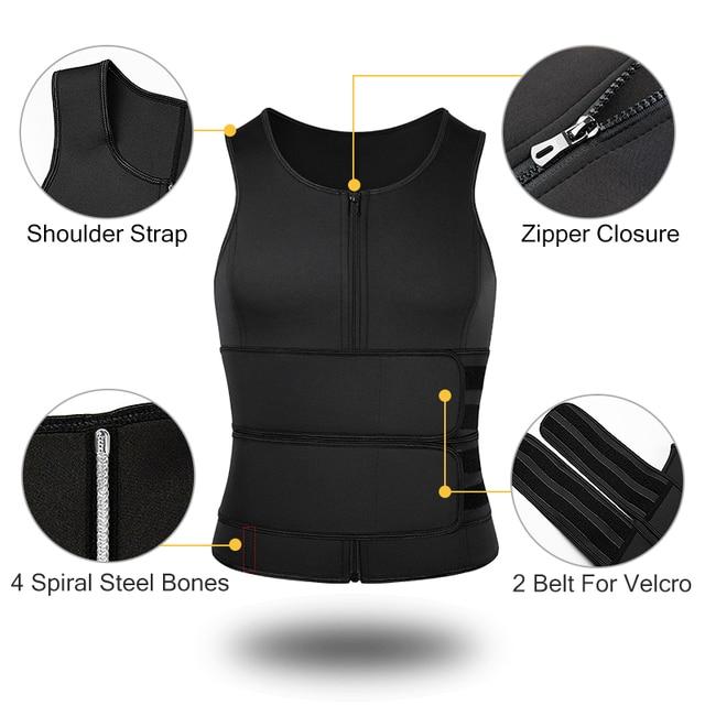 Men Body Shaper Sauna Vest Waist Trainer Zip Double Belt Sweat Shirt Corset Top Abdomen Slimming Shapewear Fat Burn Fitness Top 4