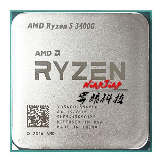 AMD Ryzen 5 3400G R5 3400G 3.7 GHz Quad Core Eight Thread 65W CPU Processor YD3400C5M4MFH Socket AM4
