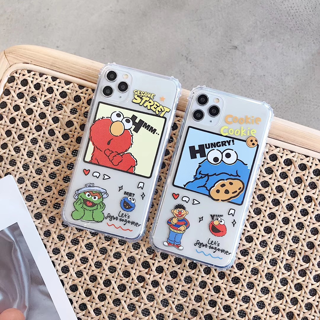 American Cartoon Sesame Street Family Elmo Cookie Phone Case For Apple Iphone 7 8 Plus 11 Pro X Xs Max Xr Clear Back Cover Coque