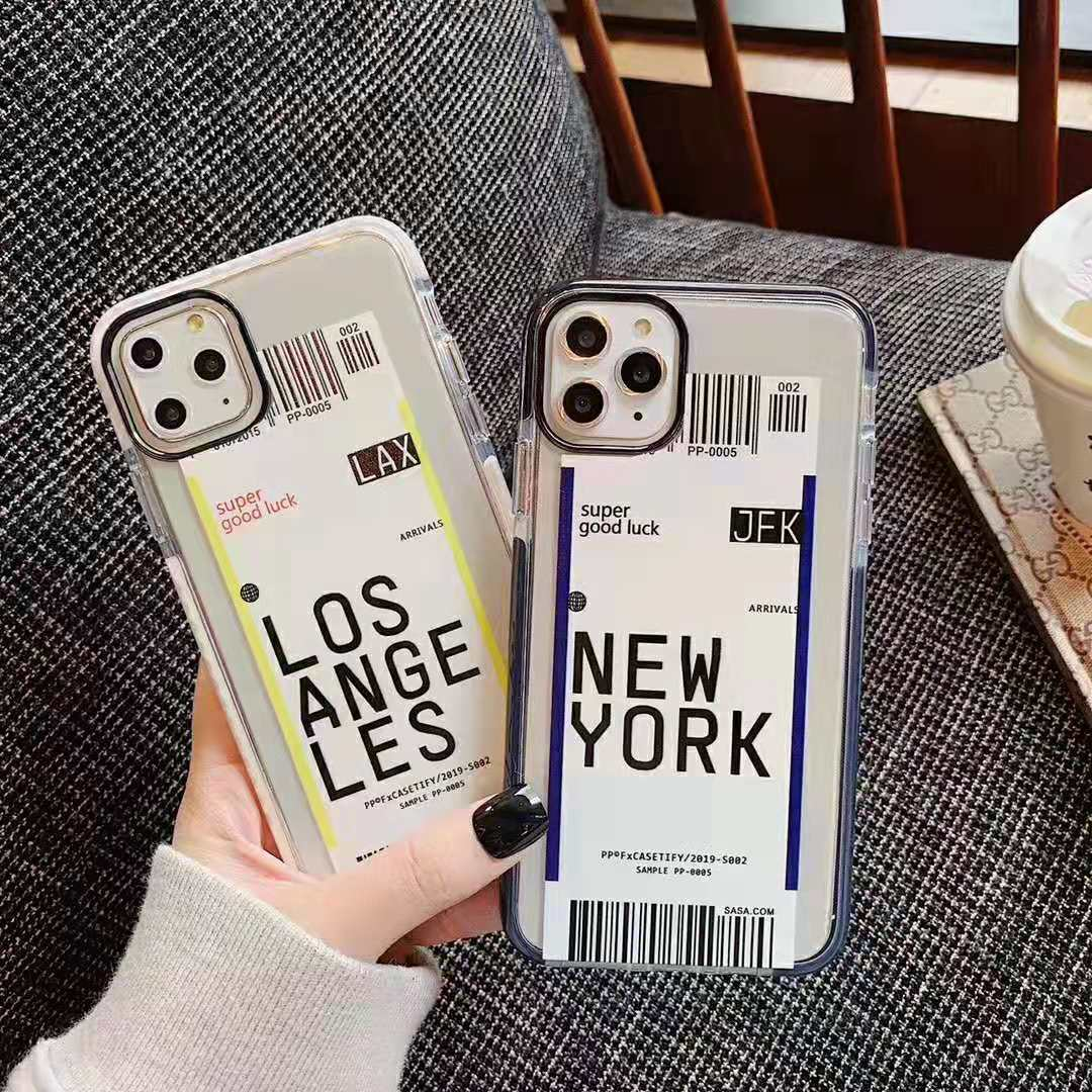 H077f40cdedba4977a19ecd2126f13edcw - Toronto New York Luxury Air Tickets Bar code Label case for iPhone 11 Pro XS Max XR 6s 7 8 Plus Los Angeles 3D Color Clear cover