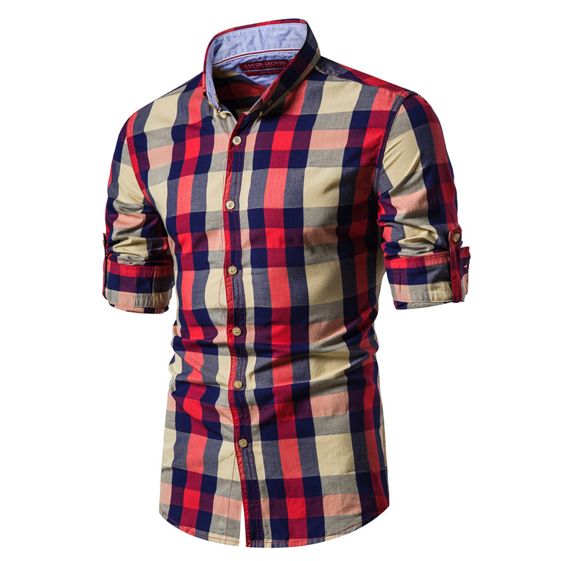 2020 New Spring Fashion 100% Cotton Plaid Shirt Men Casual Social Business Male Shirt Top Quality Long Sleeve Mens Dress Shirts
