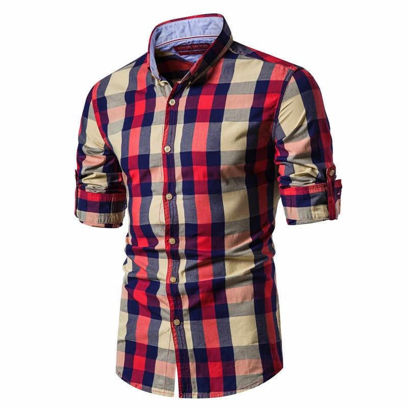 2020 nowa wiosna moda 100% bawełniana w kratę koszula mężczyzna dorywczo społecznej biznes koszula męska Top Quality z długim rękawem męskie ubranie koszule