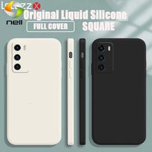 Luxur oryginalny kwadratowy płynny silikonowy futerał na telefon komórkowy Huawei Nova 8 Pro 7 6 SE 5 5i 5T 4 3 3i 2S cukierki miękka odporna na wstrząsy okładka ca tanie tanio CN (pochodzenie) Częściowo przysłonięte etui Zwykły Luxury Original Soft Silicone Cell Phone Case Dirt-resistant Key Button Protection Shockproof Anti-Scratch