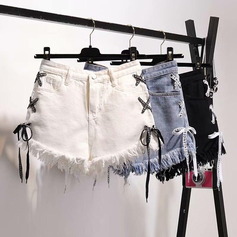 Women Plus-Size Shorts Loose Casual High Waist Jeans Short Korean Style Solid Side Bandage Tassel Female Denim Shorts 2020 New