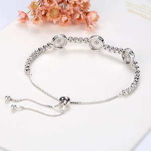 Image 3 - New Fashion High Quality Genuine 925 Sterling Silver Good Luck Luxury Round Blue Eyes Clear Cubic Zircon Crystal Tennis Bracelet