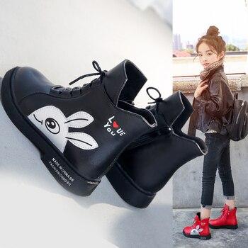¡Novedad de primavera 2019! Botas de invierno para niñas, zapatos de moda británica para niñas, botas cálidas de piel con dibujos animados para niños, bota para niños