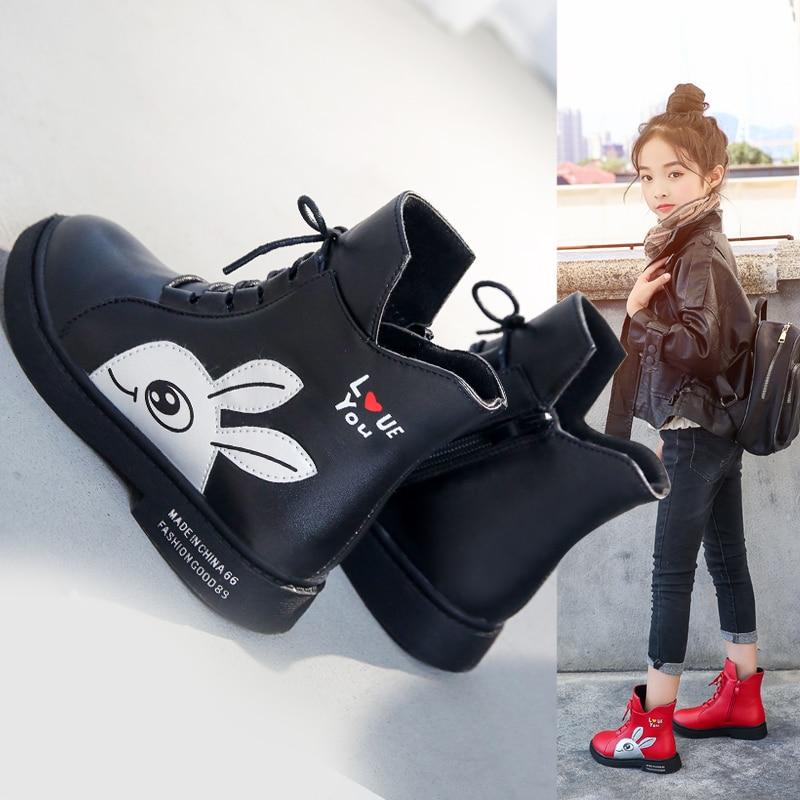 Winter Girls Boots 2019 New Spring British Fashion Girls Shoes Kids Cute Cartoon Leather Warm Plush Boots Litter Big Child Boot