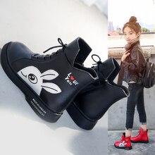 Winter Girls Boots 2020 New Spring British Fashion Girls Shoes Kids Cute Cartoon Leather Warm Plush Boots Litter Big Child Boot