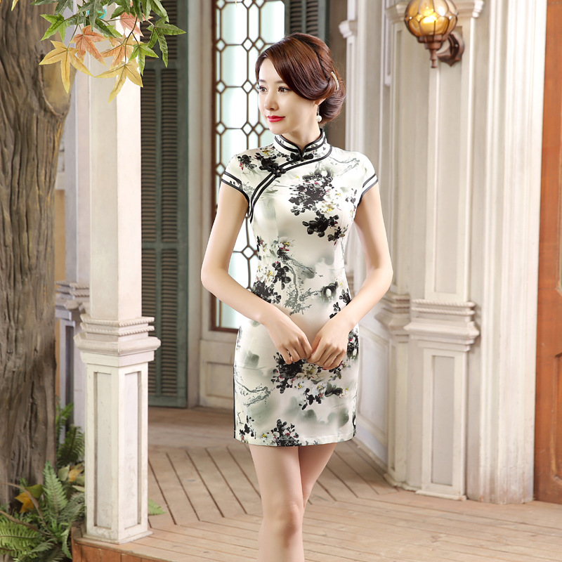 New Style Spring And Summer Short Real Silk Cheongsam Fashion Slim Dress Improvement Retro Ink Wind LGD41