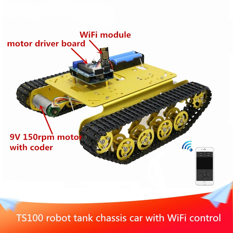 <font><b>TS100</b></font> Robot <font><b>Tank</b></font> Chassis Car 2WD Tracked Robot Chassis Wifi Control Kit with 4 Road Motor Driver Board+WiFi Module+2pcs Motors image