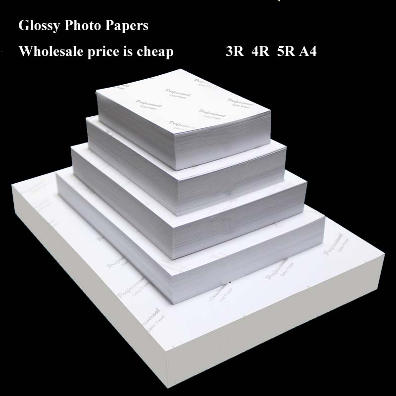 Wholesale Photo Paper 4R 5R A4 100 Sheets High Glossy Printer Photographic Paper Printing For Inkjet Printers Office Supplies