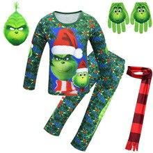 Pajamas-Set Homewear Grinched Christmas Cosplay Kids Boys Mask Gloves Scarf Long-Sleeve