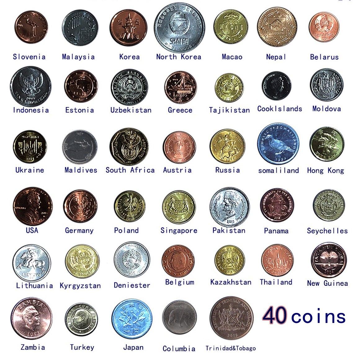 Набор из 40 монет из 40 разных стран, оригинальная монета UNC, настоящая коллекция монет, мировая Африка, Азия, Америка, Европа