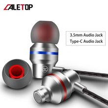 CALETOP 3.5mm Type C Earphone Dynamic Drive HiFi USB-C Earbuds In-ear Bass Metal Sport Gaming Headset with Mic For Xiaomi Huawei