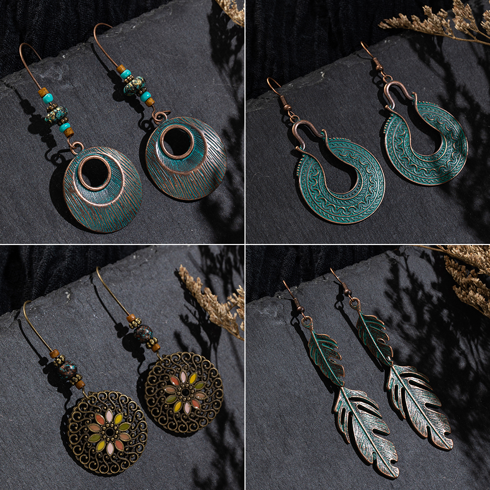 Multiple Vintage Ethnic Boho Dangle Drop Earrings Gifts for Women Female Anniversary Bridal Party Wedding Wholesale Jewelry2019