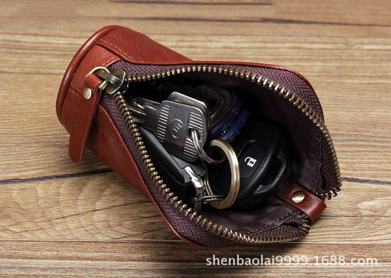 Genuine Leather Cylinder Purse Wallet Oil Wax Leather Key Bag