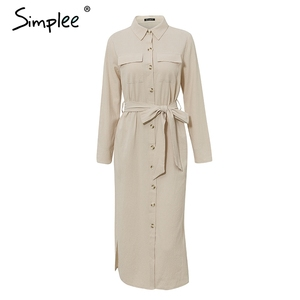 Image 5 - Simplee Streetwear Vestido largo de fiesta solapa arco algodón suelto maxi vestido elegante oficina trabajo de dama desgaste Otoño Invierno retro vestido