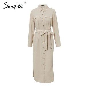 Image 5 - Simplee Streetwear ארוך המפלגה שמלת דש קשת loose כותנה מקסי שמלה אלגנטי משרד ליידי עבודה ללבוש סתיו חורף רטרו שמלה