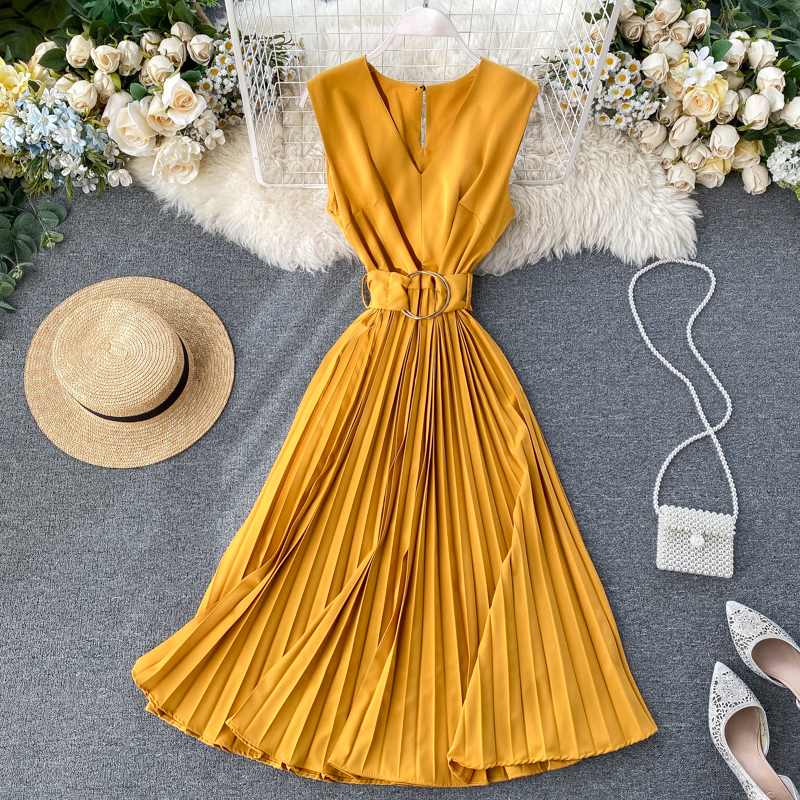 Teeuiear Vintage V Neck Slim Pleated Bandage Dress Summer Party Midi Long Dress Tank Sundress Women Elegant Vestido De Festa