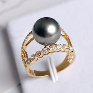 Image 2 - [YS] bague de fiançailles en or 18k, perle de tahiti, naturelle, noire, cultivée, 10 à 11mm