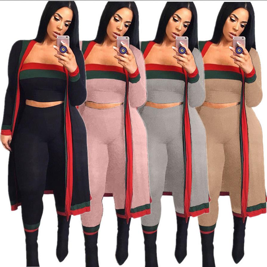 2018 Spring Summer Red And Green Strape Stitching Wrapped Chest Tights 3 Pieces Contigt Sets S628