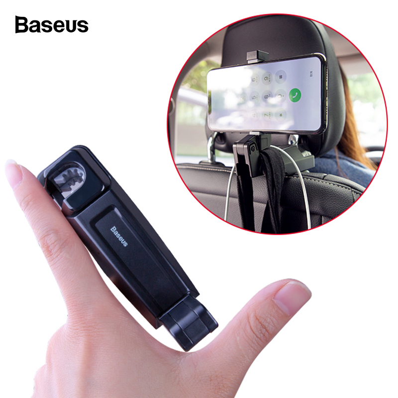 Baseus Back Seat Car Phone Holder For IPhone Xs Max Xr X 2in1 Backseat Hook Car Mount Holder For Samsung S10 S9 Plus Car Holder