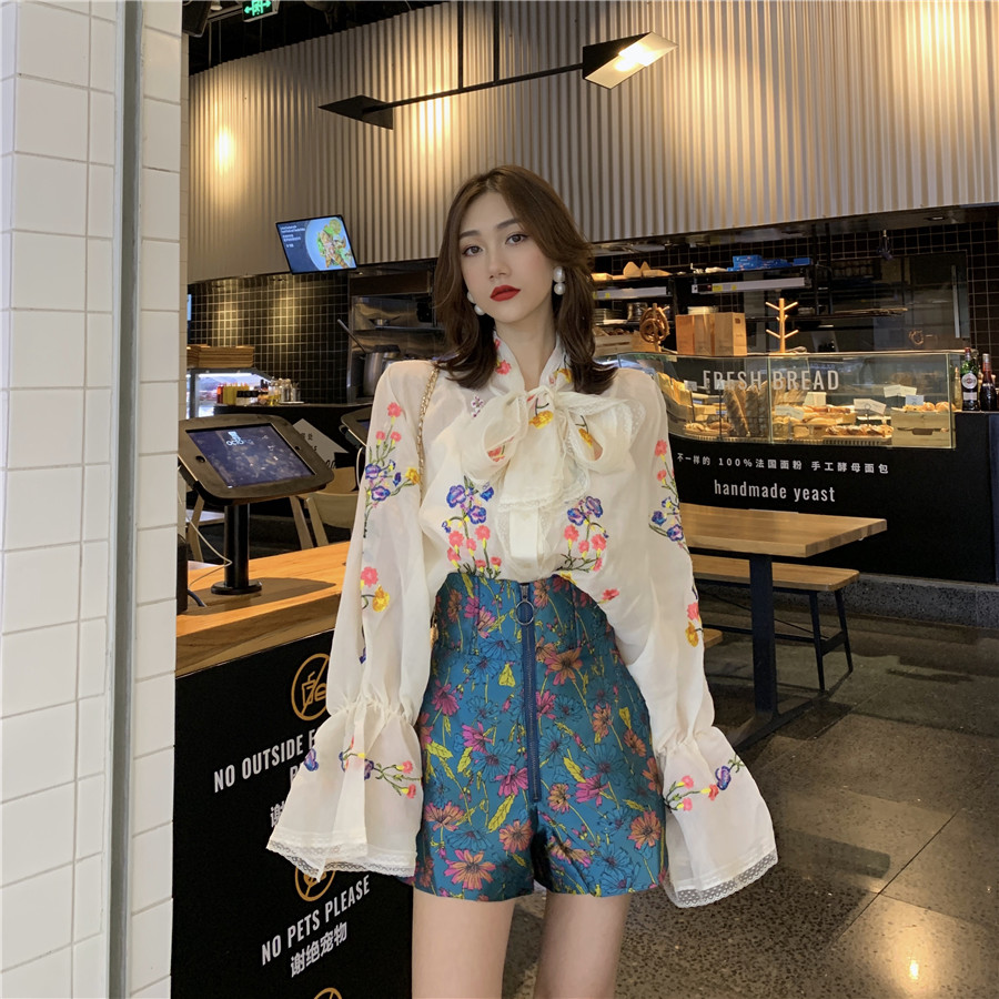 GRUIICEEN Elegant Bow Tie Office White Blouse Flare Sleeve Autumn Woman Blouses Shirts Floral Pattern