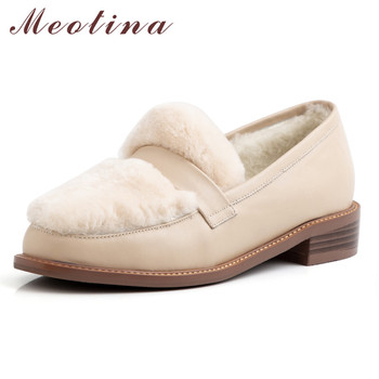 Meotina High Heels Women Pumps Natural Genuine Leather Wool Chunky Heel Loafers Shoes Cow Leather Round Toe Shoes Ladies 34-39