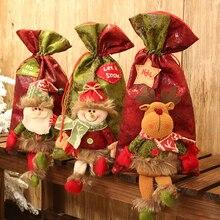 1 шт Санта Снеговик олень Рождественский подарок сумки для хранения Конфеты Яблоко пакет Рождество год Декор праздничное украшение для вечеринок 62796