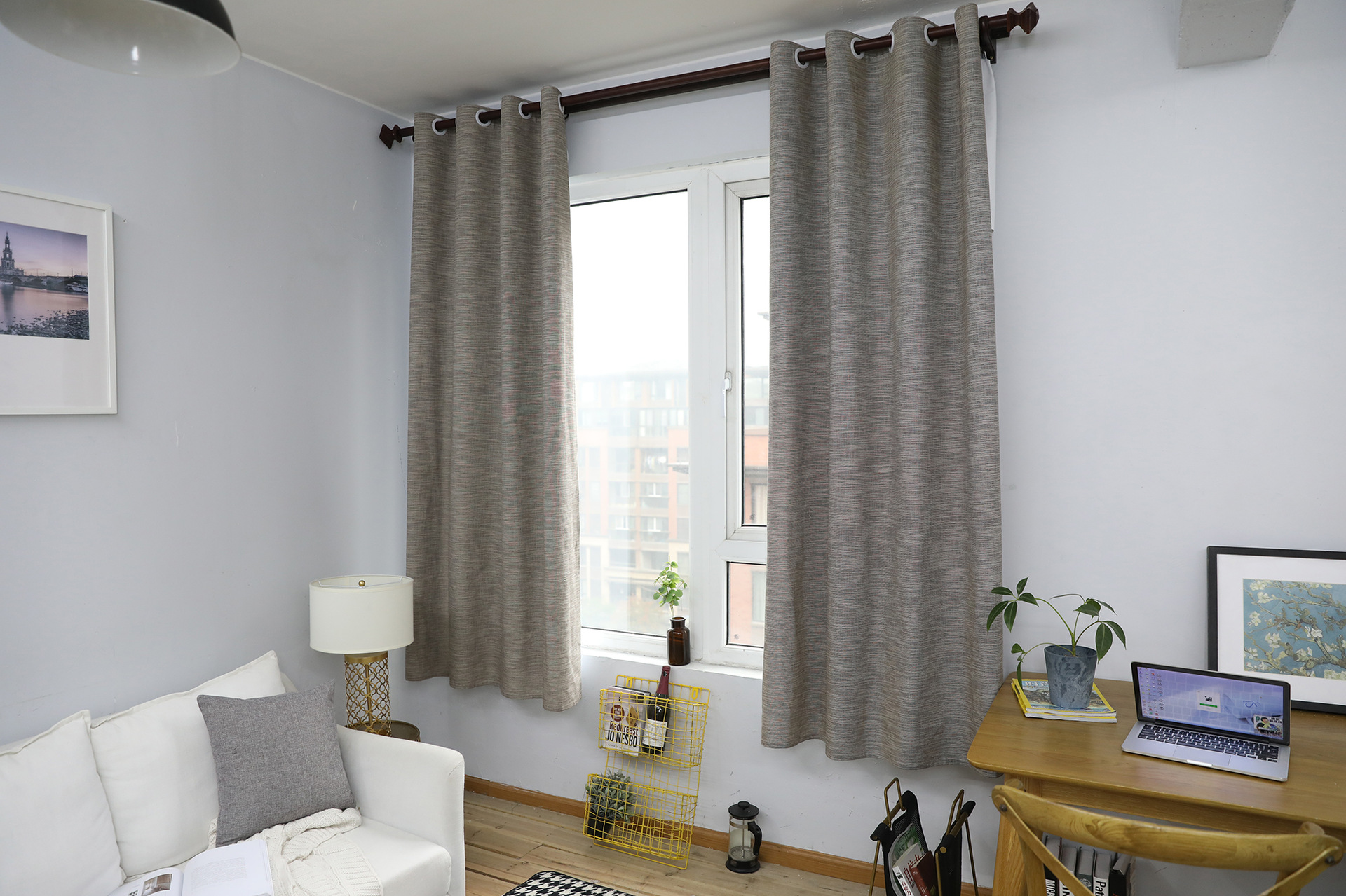 2019 Pinstripe Cotton Curtains For Living Room Blinds Bedroom Bay Window Semi Shading Finished Drapes Tube Curtain 140x215cm 55x85in From Stunning88