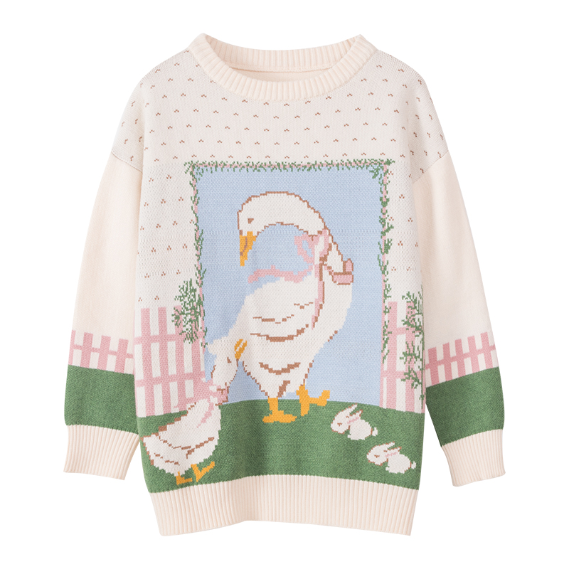 Sweet Cute Bow Lady  Swan O-neck Pullover Sweater 2020 Spring