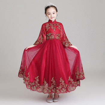 2019Autumn Elegant New Girls Children Embroidery Lace Birthday New Years Festivals Party Dress Kids Chinese Style Dress Clothes