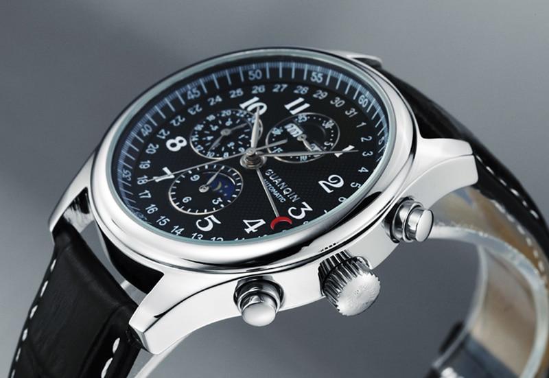 H0780b20e99f54189b629b886f46859c50 GUANQIN Relogio Masculino Automatic Mechanical Men Watches Waterproof Calendar Moon Leather Wristwatch otomatik erkek saat