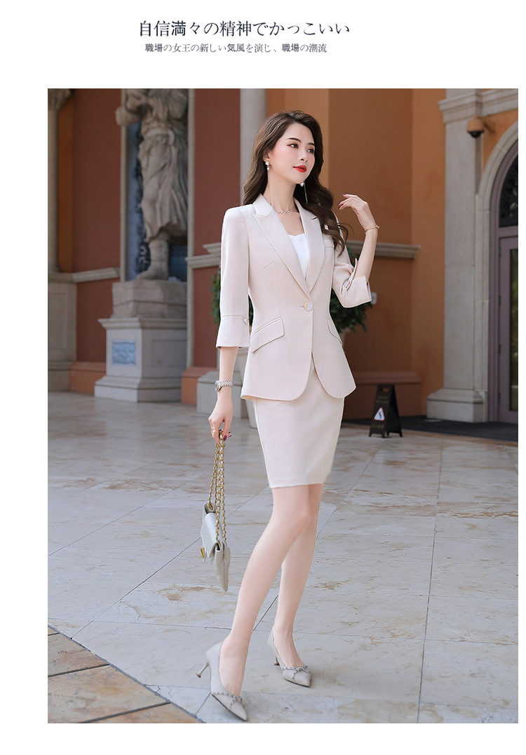 H0780bd9d4a564f2bbedf28255c491db6T - Black Apricot Female Elegant Women's Suit Set Blazer and Trouser Pant Business Uniform Clothing Women Lady Tops and Blouses