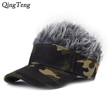 Gorra de béisbol de camuflaje para hombre, divertida gorra Unisex con visera de pelo falso, gorras de Golf informales, sombreros de traje de Cosplay