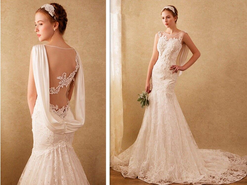 Vestido De Noiva Casamento Appliques Beading Hot Sexy See Through 2016 New Arrival Bride Dresses Lace Mermaid Wedding Dress