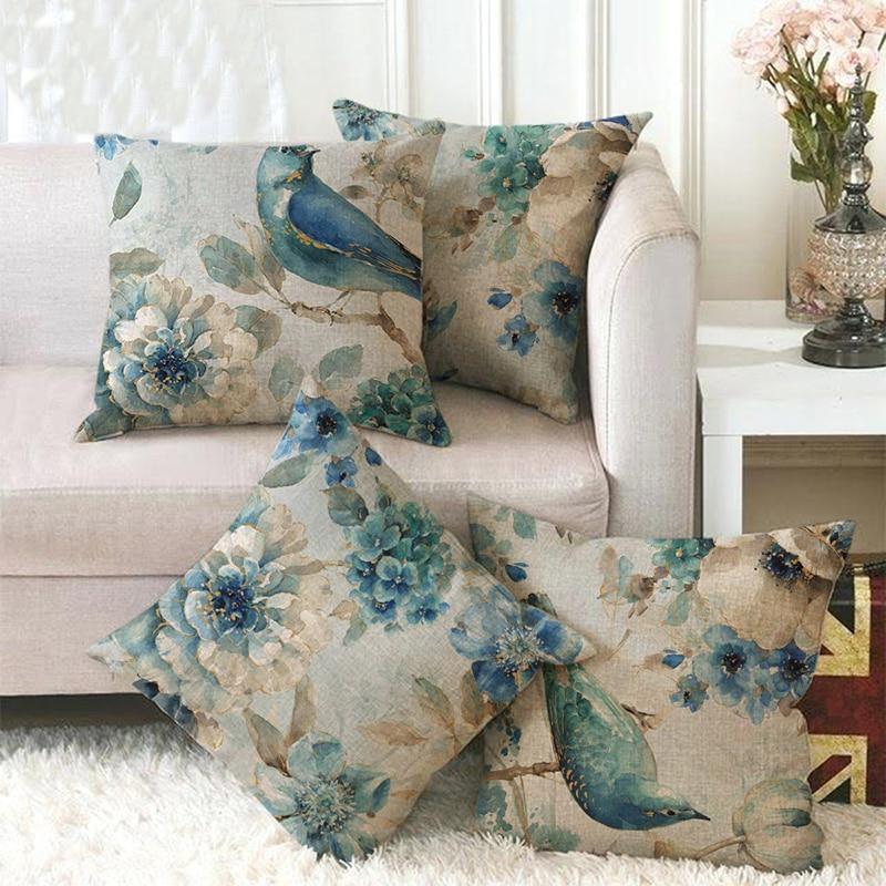 Cotton Linen Birds And Flowers Sofa Decorative Cushion Cover Pillow Pillowcase 45 45 Throw Pillow Home
