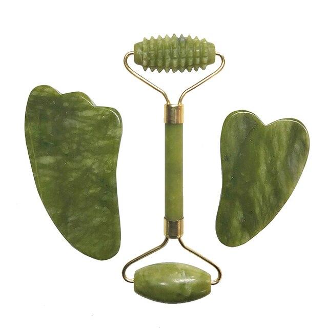 Natural Jade Roller Set Facial Massage Roller Jade Guasha Board Face Body Eyes Neck Massager Tool Skin Beauty Health Care