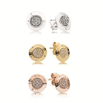 Newest Fit Original PandoralLogo S925 sterling silver Coin Round Heart earrings Rose Gold crystal Stud earrings for women Gift