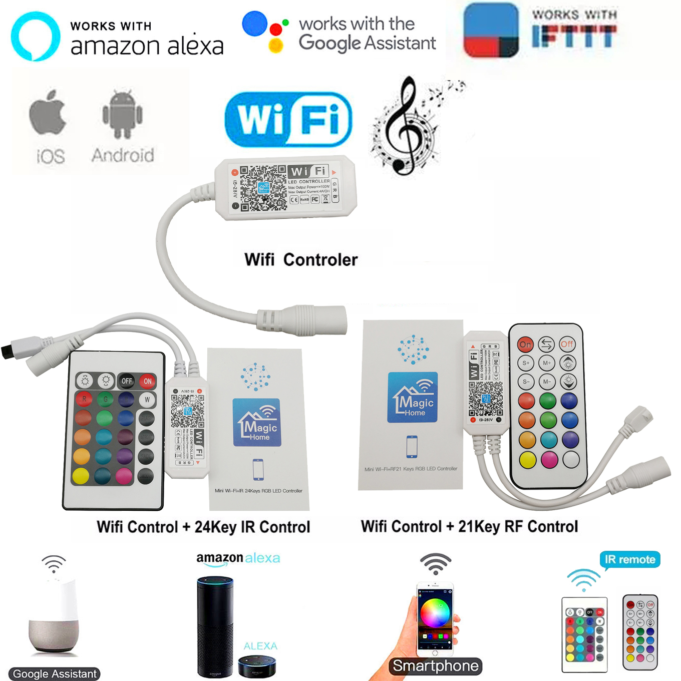 Magic Home Bluetooth Wifi RGB RGBW RGBWC LED Strip Controller Smartphone APP Control RF / IR Remote Alexa Google Voice Control