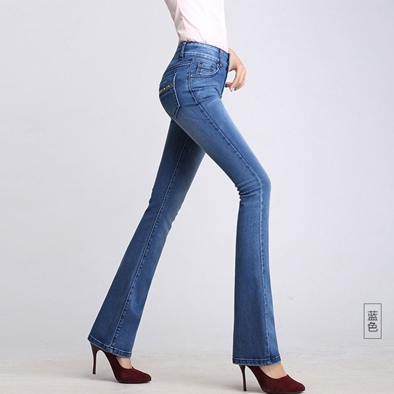 [high elasticity] high waist casual jeans women's pants in spring and winter 2020 elastic slim flared pants