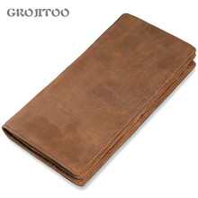 GROJITOO Men's Leather Long Wallet First Layer Cowhide Wallet Bag Multi-card Mad Horse Leather Handbag  Clutch Handy Card Holder