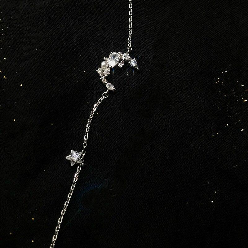 New Arrival Silver Sweet Moon Star Clear Zircon Link Bracelet 925 Imitation Pearl Bracelet Fashion Jewelry For Women Girl Gift in Chain Link Bracelets from Jewelry Accessories