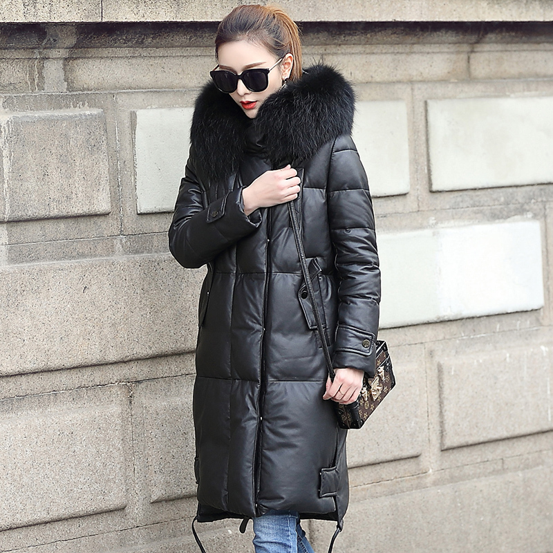 Real Leather Jacket Women Clothes 2020 Genuine Sheepskin Coat Duck Down Coat Raccoon Fur Collar Winter Coat Women MF1801 YY2271