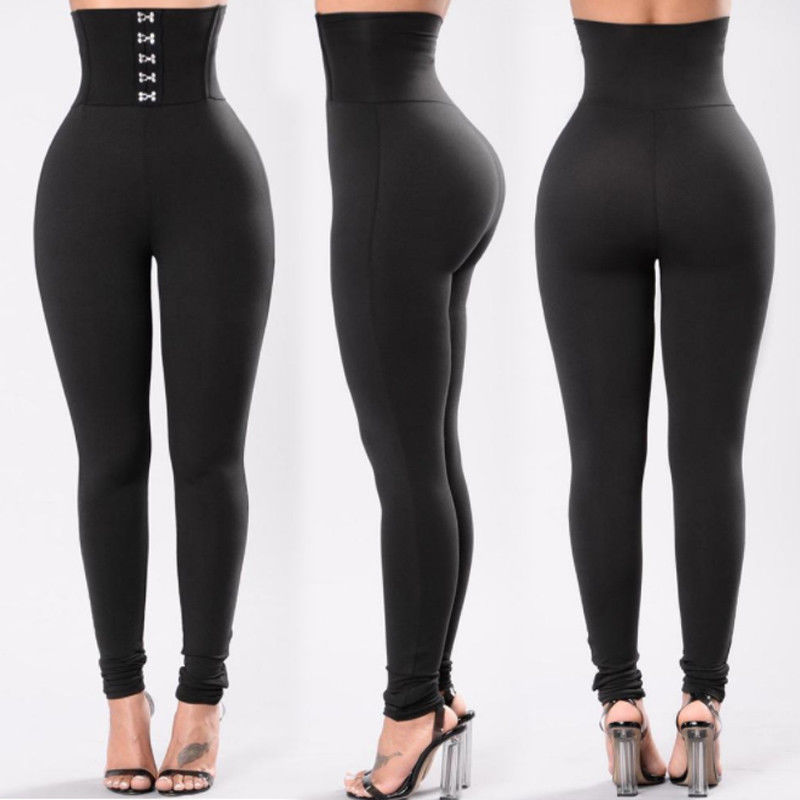Brand New Women Casual High Elastic Waist Fitness Leggings Stretch Pencil Pants Skinny Stretch Trousers