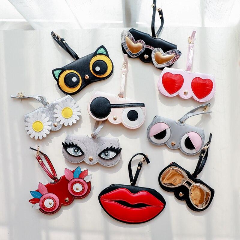 Hot Koop Draagbare Case Dier Cartoon Mode Vrouwen Pu Leer Zon Bril Box Voor Lenzenvloeistof Zonnebril Leuke Bescherming Tas