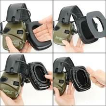 Proteção eletrônica tático earmuffs protetores de ouvido almofadas para tiro eletrônico tático caça fone ouvido